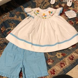 Nwt 18m smocked scooter girls short set